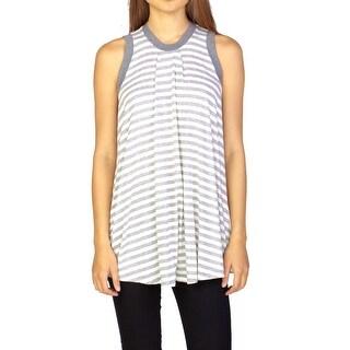 Miu Miu Women's Viscose Sleeveless Striped Blouse Shirt Grey - S