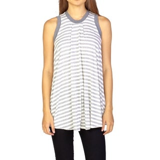 Miu Miu Women's Sleeveless Striped Blouse Grey - S