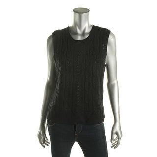 Lauren Ralph Lauren Womens Sweater Vest Cashmere Blend Pointelle-Knit