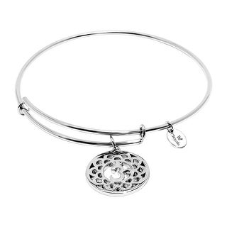 Chrysalis 'Crown' Expandable Bangle Bracelet in Rhodium-Plated Brass - White