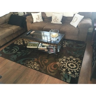 "Brown/Blue Transitional Area Rug (5' x 7'6"")"