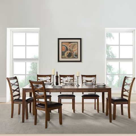 7-Piece Rectangle Dining Table Sets with Chairs Rubber Wood for Dining Room