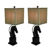 Antique Bronze Finish Horse Head Table Lamp Set of 2