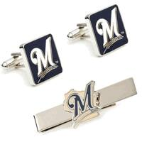 Milwaukee Brewers Cufflinks and Tie Bar Gift Set MLB - Silver