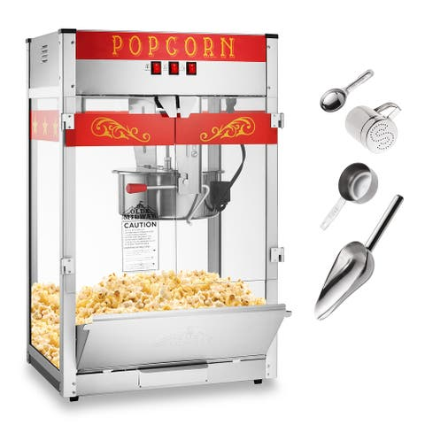Commercial Popcorn Machine Maker Popper w/ Extra Large 16-Ounce Kettle