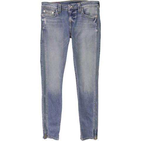 True Religion Womens Zip Seam Skinny Fit Jeans, Blue, 28