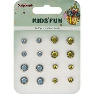 Scrapberry's Kids' Fun Rhinestone Brads-Blue & Yellow/8 Each
