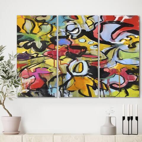 Designart 'Adolescent' Modern Canvas Wall Art - 36x28 - 3 Panels