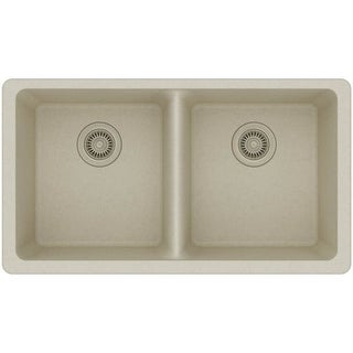 """Elkay ELGU3322 Gourmet 33"""" Double Basin Granite Composite Kitchen Sink for Undermount Installations with 50/50 Split (More options available)"""