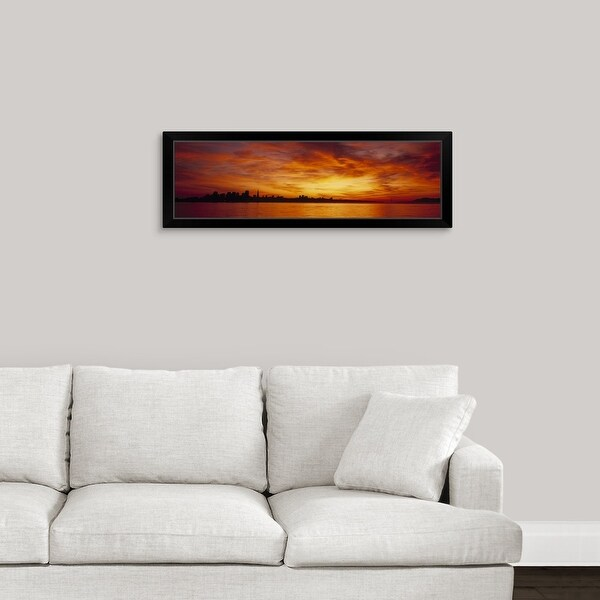"""""""Silhouette of buildings at the waterfront, San Francisco, California"""" Black Framed Print"""