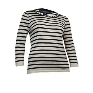 August Silk Women's Pearled Striped Knit Sweater