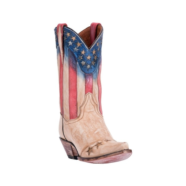 Dan Post Western Boots Womens Americana Patriotic Snip Beige