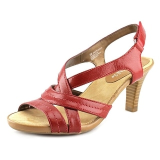 Aerosoles Wrote About Women Open-Toe Leather Red Slingback Sandal