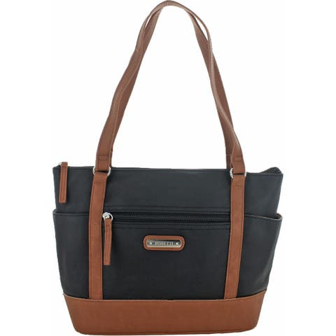 Rosetti Magnolia Women's Faux Leather Colorblock Signature Tote Handbag - Black - Medium