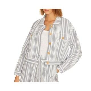 Link to Sanctuary Women's Jacket Blue Size Medium M Stripe Print Trucker Similar Items in Women's Outerwear