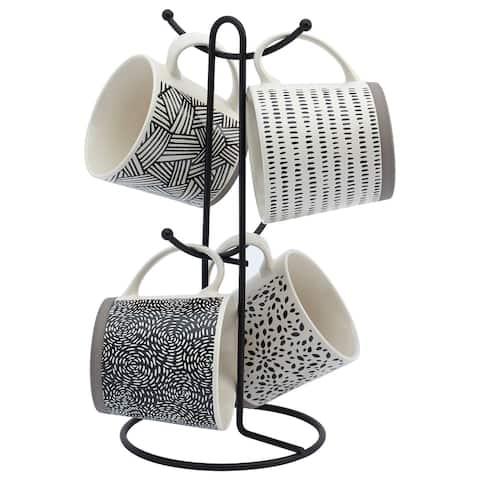 Tabletops Avenue 5PC 16 oz Mug Tree Set with Black Wire Rack - Assorted Black & White