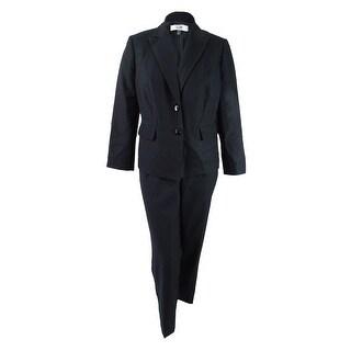 Le Suit Women's Plus Size Two-Button Pique Pantsuit - Black