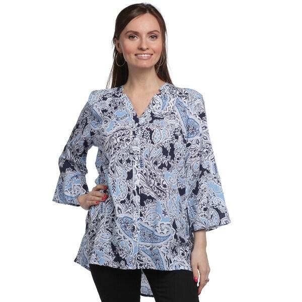 35e280455519 Shop Erika Women's Sophia Paisley Print 3/4 Sleeve Top - Free Shipping On  Orders Over $45 - Overstock - 28108800