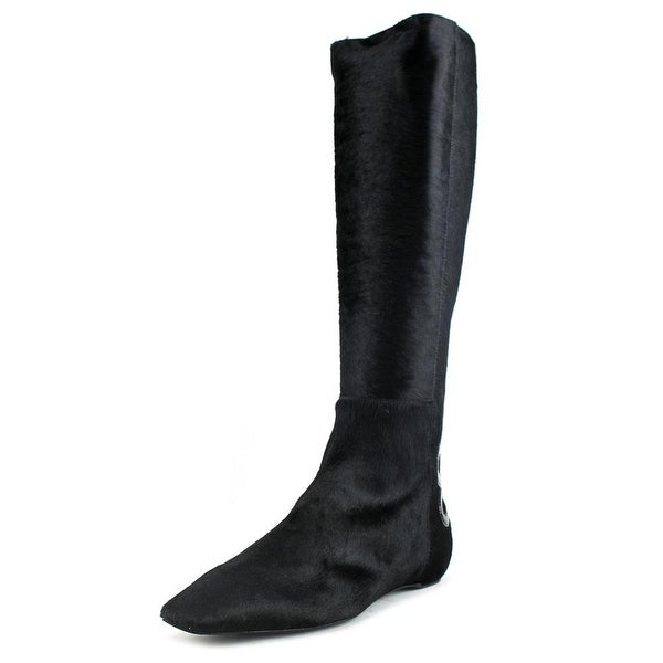 Roger Vivier Botte Balmoral T.05 Women Square Toe Suede Black Knee High Boot