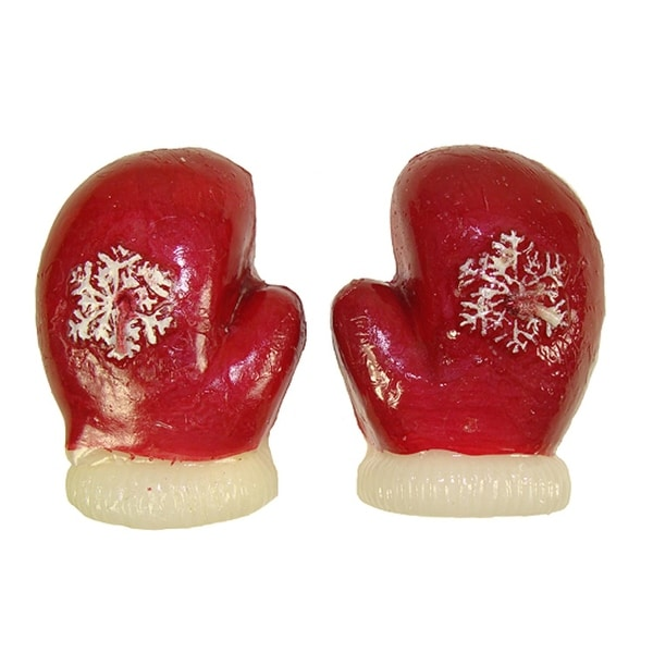 Club Pack of 192 Red Mitten Floating Christmas Party Candles 3.25""
