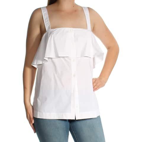 MICHAEL KORS Womens White Sleeveless Square Neck Top Size: M