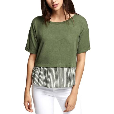 Sanctuary Womens Skye Pullover Top Mixed Media Short Sleeves