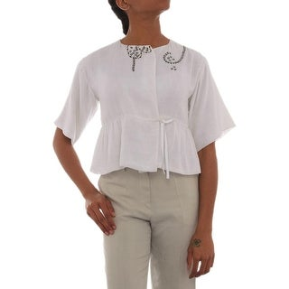 Joseph Shanker Short Sleeve Scoop Neck Peplum Women Regular Peplum Top