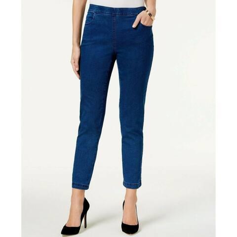 Karen Scott Women's Petite Pull-On Jeans Dark Wash Size Small/Medium - Blue - S/M