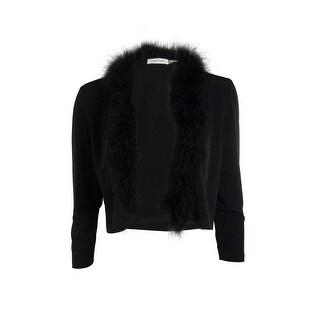 Calvin Klein Women's Feather Trim Jersey Cardigan - m