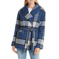 Nordstrom Signature Blue Plaid Women's Small S Coat Jacket Wool