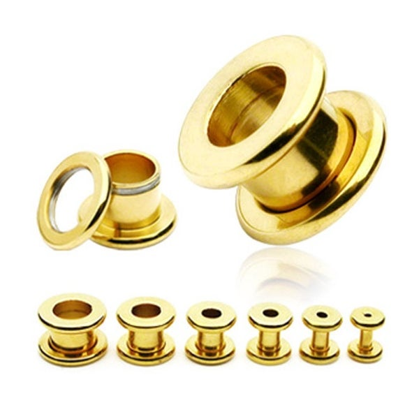 Gold Plated Surgical Steel Screw Fit Tunnel (Sold Individually)