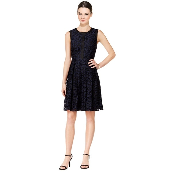 d6b5df1083 Shop Tommy Hilfiger Fern Lace Fit & Flare Dress Navy/Black - Free ...