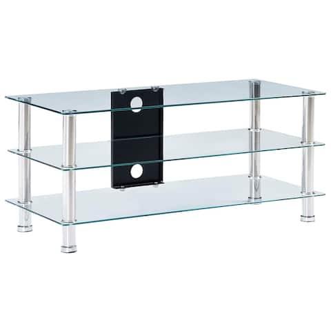 "vidaXL TV Stand Transparent 35.4""x15.7""x15.7"" Tempered Glass"