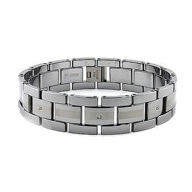 Tungsten Carbide Diamond Men's Link Bracelet (17mm Wide) 8.5 Inches