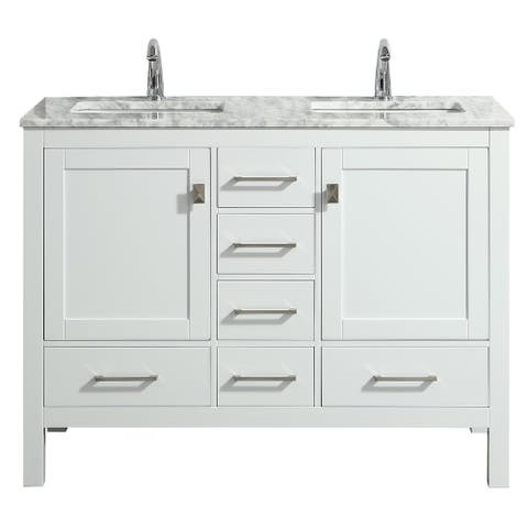 Eviva London 48 x 18 inch White Transitional Double Sink Vanity with White Carrara Marble and Undermount Porcelain Sinks