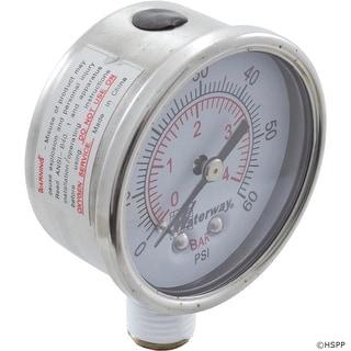 "Pressure Gauge, Waterway, 1/4""mpt, 0-60psi, Bottom Mount"