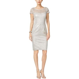 Adrianna Papell Womens Cocktail Dress Metallic Sequined