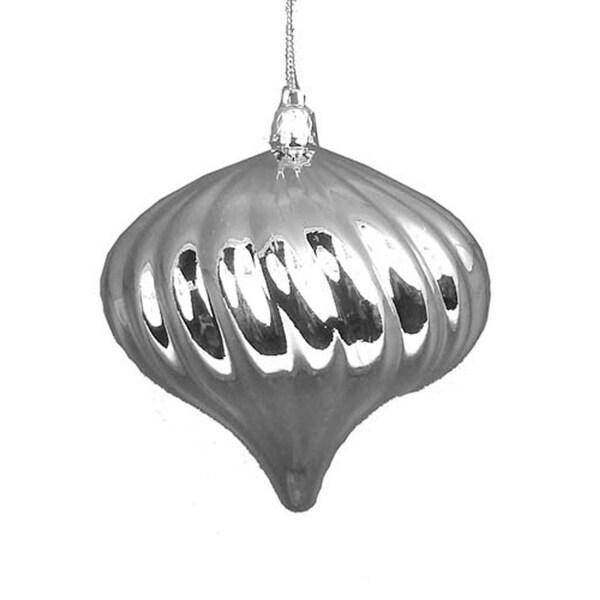 "4ct Shiny Silver Splendor Swirl Shatterproof Onion Christmas Ornaments 4"""