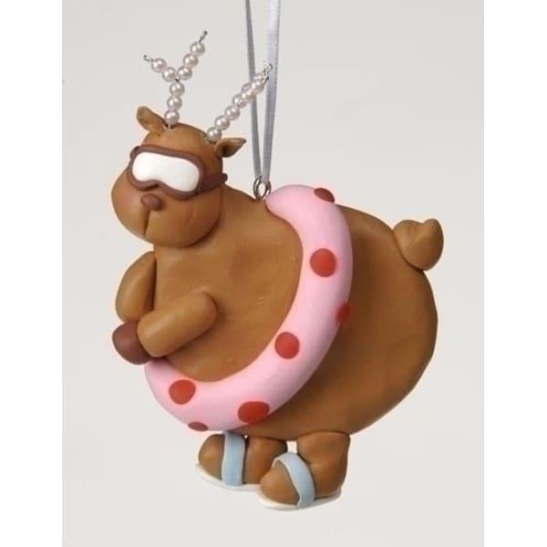 Club Pack of 12 Swimming Diva Reindeer Pearl Antlers Christmas Ornaments #23108