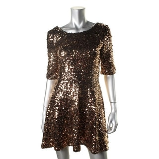 French Connection Womens Sequined Elbow Sleeves Party Dress - 8