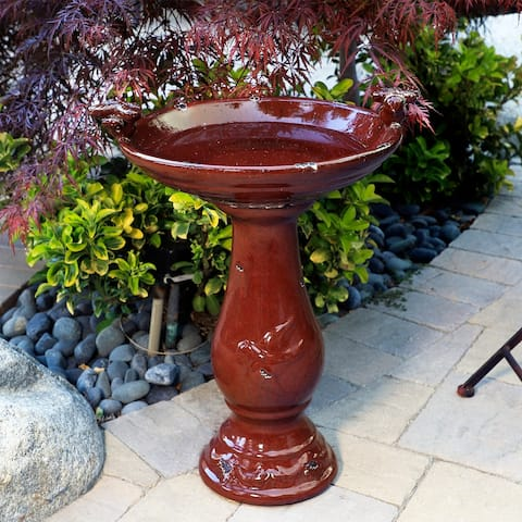 Alpine 24-Inch Ceramic Antique Pedestal Birdbath and Bird Figurines, Red