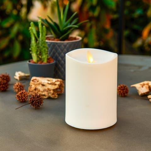 """Luminara Outdoor Real-Flame Effect 3.25"""" X 5"""" Pillar LED Candle"""