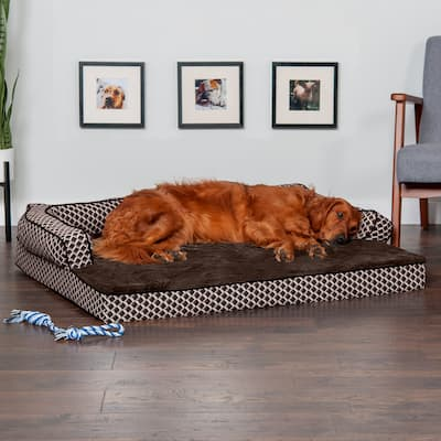 FurHaven Pet Bed | Plush & Décor Comfy Couch Orthopedic Sofa-Style Dog Bed