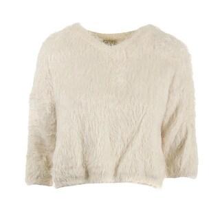 Alythea Womens Fuzzy 3/4 Sleeves Crop Sweater - XS