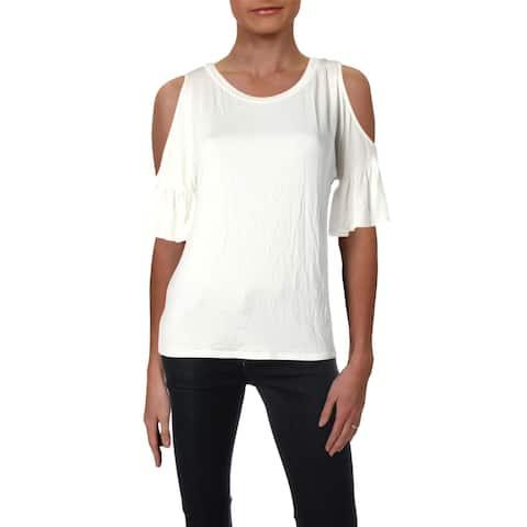 Aqua Womens Pullover Top Cold Shoulder Short Sleeve