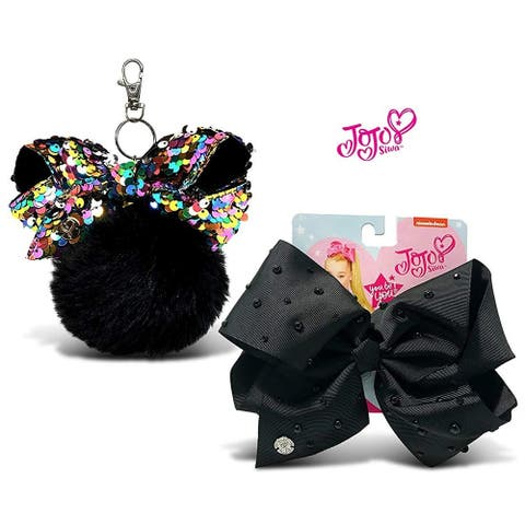 JoJo Siwa Black Fur Ball with Mini Sequin Bow Black Signature Bow w/Rhinestones & Pearls 2 Items