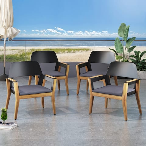 Soho Outdoor Acacia Wood Club Chairs with Cushion (Set of 4) by Christopher Knight Home
