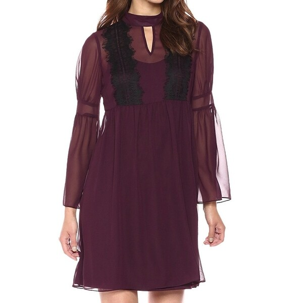 Jessica Simpson Purple Plum Lace Chiffon Women Size 2 A-Line Dress