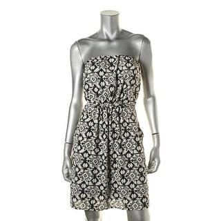 Aqua Womens Star Aztec Chiffon Strapless Casual Dress - S