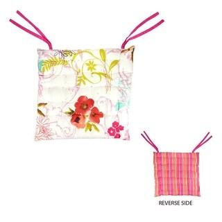 """16"""" L'Eau de Fleur Reversible Vera Bouquet Multi-Color Chair Cushion with Ties"""